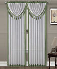 1 Faux Silk Solid Rod Pocket Two-Tone Window Curtain Panel Amy #2