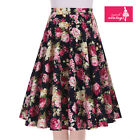 Women's Navy Blue Floral Vintage 50s Rockabilly Swing Skirt