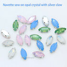 Opal Horse eye navette crystal stone sew on glass rhinestone craft Dress Garment