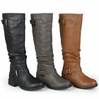 Journee Collection Womens Wide And Extra-wide Calf Slouchy Buckle Detail Boots
