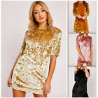Women Short Sleeve Velvet Slim Mini Dress Stretch Bodycon Cocktail Party Club