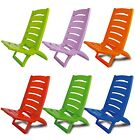 Plastic Portable Folding Low Beach Chairs Coloured Garden Picnic Deck Pool Chair