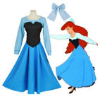 The Little Mermaid Ariel Princess Dress Cosplay Women Costume Blue Outfits Adult