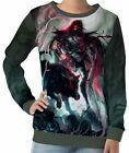 Spear Warrior Next To Black Wolf Women's Long Sleeve Sweatshirts wb104 aco43839