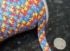 "Autism Awareness Elastic Ribbon Puzzle Design 16mm (5/8"") 2/5/10 yards"