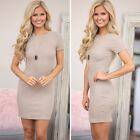 Summer Women Short Mini Dress Cocktail Party Evening Bodycon Short Sleeve S-L
