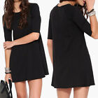 Women Fashion Black Half Sleeve Casual Evening Party Club Mini Dress S/M/L