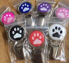 Dog Show Ring Number Clip Pin - Paw Prints Pink Blue Purple Black White & Red