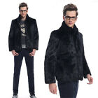 Men's Real Genuine Whole Rabbit Fur Coat Jacket 3XL Stand Collar Winter Snow