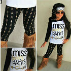 2Pcs Toddler Kids Girls Arrow Clothes Hooded Tops Long Pants Outfit Set US Stock