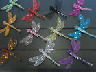 Pack of 3 Dragonflies, 9cm Dragonfly Diamante Decoration Mesh Wings And Clip