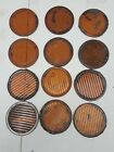 """Vintage Lot of 12 Corning deflector cover Amber 3.5"""" Glass Railroad Signal Lens"""