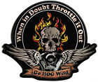 Embroidered When In Doubt Throttle It Out Skull and Wings Large Biker Back Patch