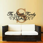 Custom Personalized Family Name Monogram Wall Vinyl Decal Living Room Zx284