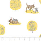 DISNEYS BAMBI AND THUMPER - FOREST SCENE -  IN YELLOW & WHITE 100% cotton fabric