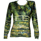 CLAUDE MONET Japanese Bridge Water Lilies LANDSCAPE LS T-SHIRT FINE ART PRINT