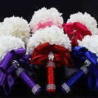 Handmade Crystal Bridal Wedding Bouquet Silk Flower Bridesmaid Foam Brooch Chic