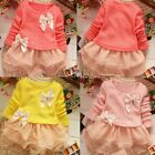 Top Baby Girl Long Sleeve Tops Dress Blouse Kids Tulle Lace Skirt clothes TXST