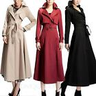 Ladies Pocket Dress Pleated Womens Long Trench Coat Belted Jacket Size 12 14