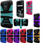 For LG Rebel 2 L57BL Hard Gel Rubber KICKSTAND Case Phone Cover Accessory