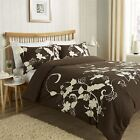 Floral Trail Duvet Quilt Cover Set Bed Linen Double King Size Bedding, Chocolate