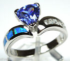 1.1 Ct Tanzanite & Blue Fire Opal Inlay Solid 925 Sterling Silver Ring size 6- 8