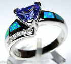 0.70 Carat Tanzanite & Blue Fire Opal Inlay 925 Sterling Silver Ring Sz 6,7,8,9