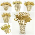 25Pcs 3D Golden Juice Drinking Drink Straws Cocktail Party Wedding Birthday