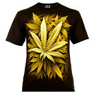 Yellow Cannabis Leafes - Rock Eagle T-Shirt Glow in the Dark Weed THC Ganja 420