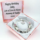 Horse Pony Bracelet Pink Beads PERSONALISED BOX Any Name Birthday Jewellery Gift