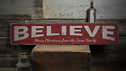 Believe, Custom Merry Christmas From - Rustic Distressed Wood Sign ENS1001500
