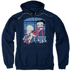 Betty Boop Moonlight Mens Pullover Hoodie Navy $41.82 USD