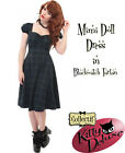 Collectif Vintage Style Mimi Doll Dress in Black Watch Tartan Rockabilly