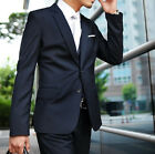 Quality Mens Dark Navy Two Button Wedding Tuxedos Suits Jacket Pants Set