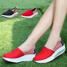 Women Platform Wedge Sports Shoes Canvas Round Toe Summer Sneakers Trainer 3-6.