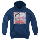Betty Boop On Broadway Big Boys Youth Pullover Hoodie NAVY $35.57 USD