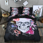 Skull Quilt Duvet Doona Cover Set Queen King Single Size Bed Pillow Cases New