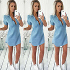 Fashion Women's Summer Short Sleeve Loose Denim Blouse Casual Tops T-Shirt Blue