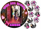 EDIBLE HAIRDRESSER BEAUTY SALON PINK GIRLS HAPPY BIRTHDAY CUPCAKE ICING TOPPER