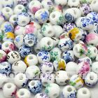 20/100 Various Design Color Round Ceramic Beads Eco-friendly Material 8mm 10mm
