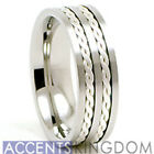 Accents Kingdom 8mm Men's Titanium Silver Rope Inlay Wedding Ring Band Size 8-12