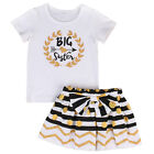 Big-Little Sister Matching Top T-shirt Newborn Baby Girl Romper Dress Outfit USA