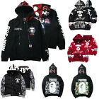 Men's Japan Shark Head Hoodie Zipper Sweater Jacket Camo Hooded Coat Long Sleeve