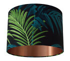 Tropical Palm Leaf Green/Teal Handmade Lampshade with Brushed Copper Lining