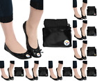 NFL Football Team Logo Womens Black Foldable Slip On Flats Shoes w/ Clutch Bag