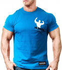 NEW MEN'S Monsta Clothing Clean and Simple Series Muscle Arnold Tee: Blue