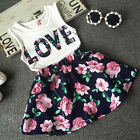 Toddler Baby Kids Girl Dress Tank Vest Tops T-Shirt+Skirt Outfit Set Clothes US фото
