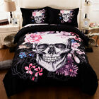 HD Print Skull Flower Duvet Cover Pillow Case Quilt Cover Bedding Set  All Size