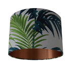 Tropical Palm Leaf Green/Teal Handmade Lampshade with a Brushed Copper Lining