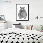 Black White Abstract Bear Poster Nordic Kids Room Decor Wall Art Canvas Painting